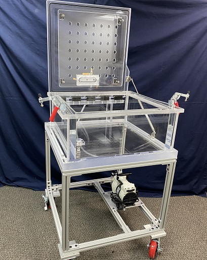 Altitude Simulation System, Hinged Top Lid, Spring Supported, Clear Acrylic Chamber, Cube, 18 inch inside Dimensions