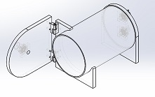 Acrylic Vacuum Chamber, Cylinder, 8 inch diameter, 12 inch deep, Hinged Side Door with Clamps