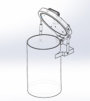 Acrylic Vacuum Chamber, Cylinder, 8 inch diameter, 12 inch height, Top Load Model, Gas Spring Supported Lid